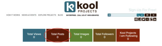 KoolProjects Dashboard - Total KoolProject Journal Posts