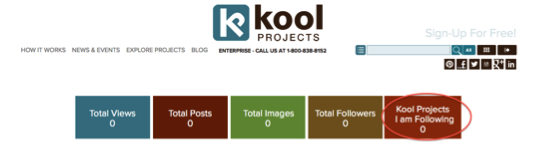 KoolProjects Dashboard - Projects Your Are Following